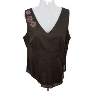 ann taylor petites 14P brown embroidered floral ta
